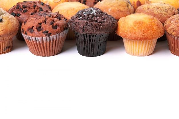 Muffin, gâteaux, haut, frontière, rang