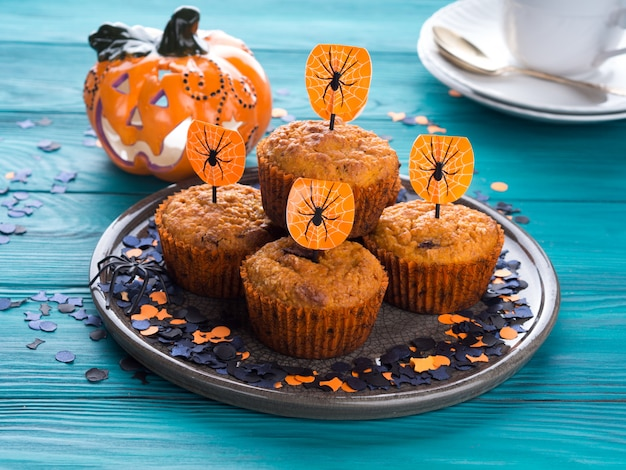 Muffins à la citrouille pour la fête d'halloween