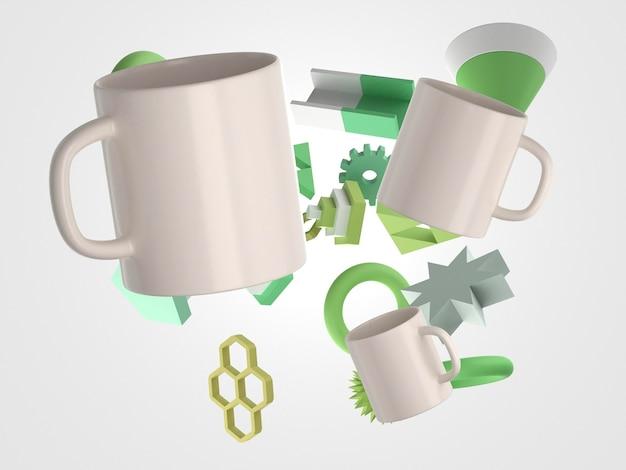 Mug 3d avec composition de formes géométriques volantes