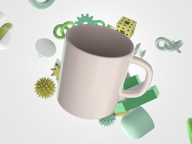 Mug 3d minimaliste avec poignée et objets volants