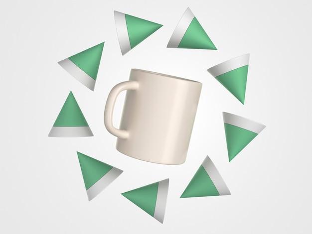 Mug blanc 3d entouré de formes polygonales