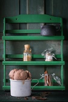 Mug avec glace au chocolat