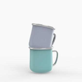 Mug en métal émaillé sur espace blanc