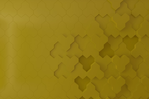 Mur 3d jaune pour le fond, la toile de fond ou le papier peint, mur 3d en forme de ruche.