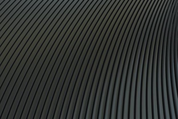 Mur abstrait noir architecture vague abstrait rendu 3d, fond noir pour la présentation