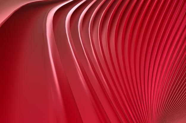 Mur abstrait rouge architecture vague abstrait rendu 3d, fond rouge pour la présentation