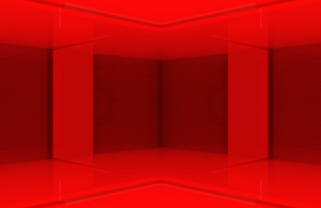 Mur d'angle design moderne panneau rouge boîte.