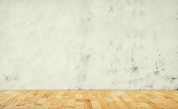 Mur en béton blanc et plancher en bois blanc