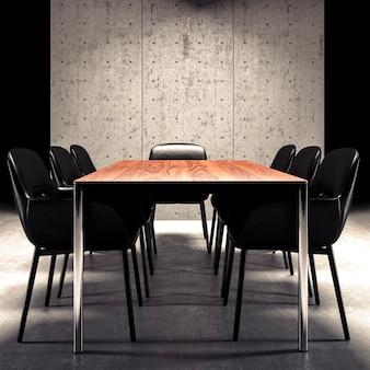 Mur de béton dans la maquette d'intérieur de bureau contemporain, rendu 3d
