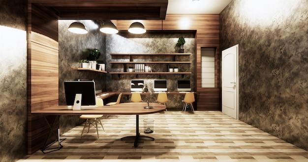 Mur de béton de design d'intérieur de style studio loft de bureau gris brillant sur des carreaux en bois
