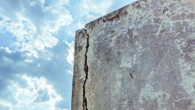Mur de béton fissuré à l'extérieur qui a affecté le tremblement de terre et l'effondrement du sol