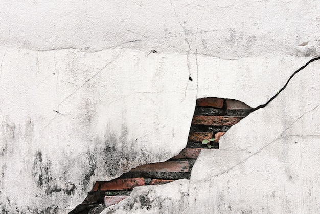 Mur de béton fissuré recouvert de ciment gris comme arrière-plan.