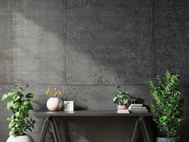 Mur de béton de maquette avec des plantes ornementales et un élément de décoration sur le rendu table.3d