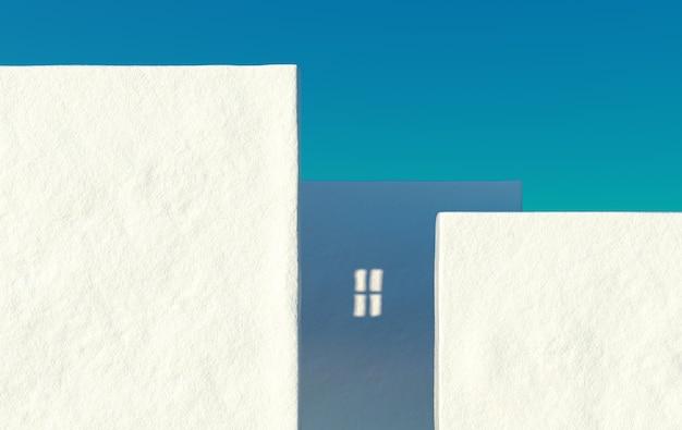 Mur de béton vide grunge blanc rendu 3d de la maison de ville avec fond de ciel clair