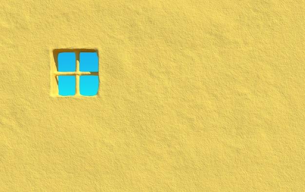 Mur de béton vide grunge rendu 3d de la maison de ville avec fond de ciel clair