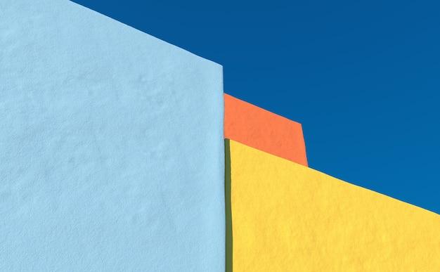 Mur de béton vide rendu 3d de la maison de ville avec fond de ciel clair