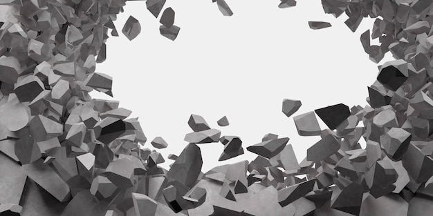 Mur blanc cassé avec un trou au centre illustration 3d