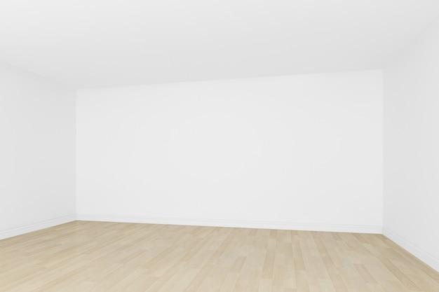 Mur blanc avec plancher en bois vide room3d intérieur