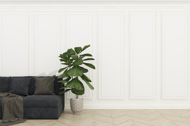 Mur blanc avec plancher de bois
