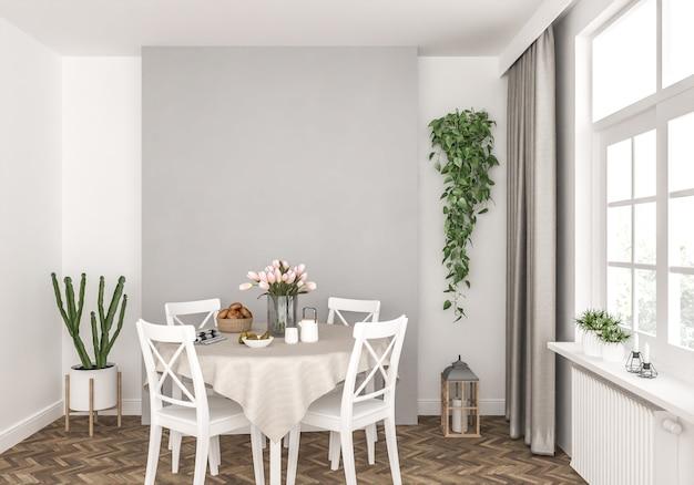 Mur blanc de la salle à manger