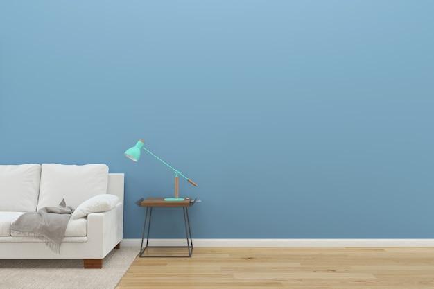 Mur bleu blanc canapé plancher bois fond texture lampe vert tapis