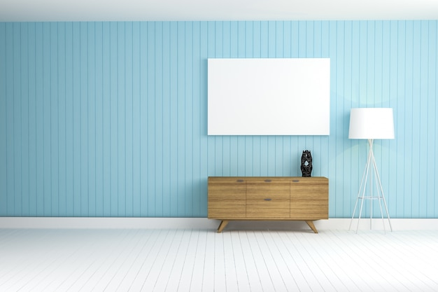 Mur bleu avec un mobilier marron