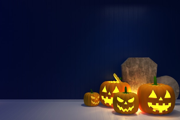 Mur bleu modèle halloween pierre citrouille fantôme