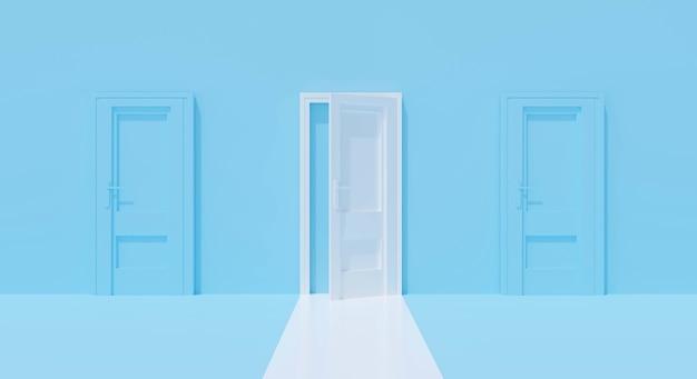Mur bleu avec porte ouverte