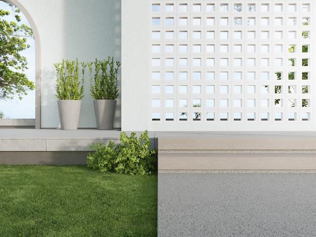 Mur de blocs de ventilation blanc et passerelle en béton vide