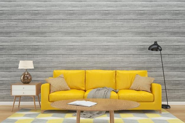 Mur en bois canapé jaune fond intérieur plancher en bois