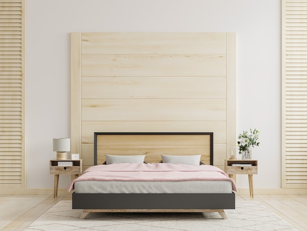 Mur en bois de maquette dans le fond intérieur de chambre à coucher, rendu 3d