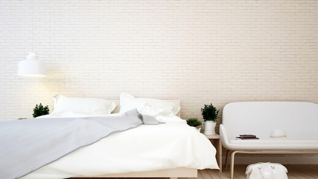Mur de brique de chambre à coucher et de salon dans l'appartement ou la maison
