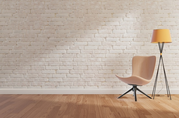 Mur de briques blanches et plancher en bois, maquette, espace copie, rendu 3d