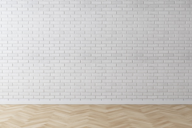 Mur de briques de mur blanc avec plancher de bois en chevrons