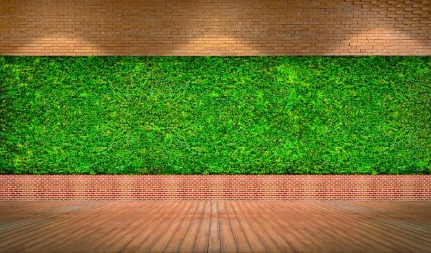 Mur de briques rouges avec fond d'herbe verte fraîche