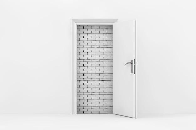 Mur de briques vu à travers la porte ouverte blanche gros plan extrême. rendu 3d.