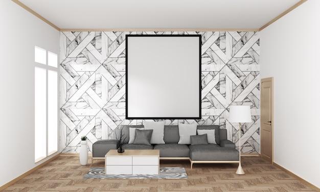 Mur de carrelage en granit du salon moderne japonais sur plancher en bois, rendu 3d