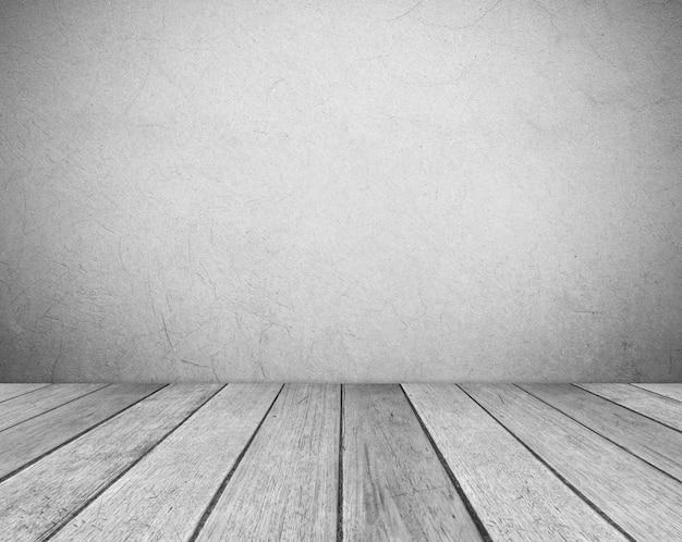 Mur de ciment gris vide et salle de plancher en bois vintage en vue perspective, fond grunge