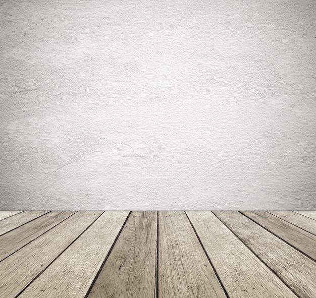 Mur de ciment grunge marron et fond bois vintage perspective