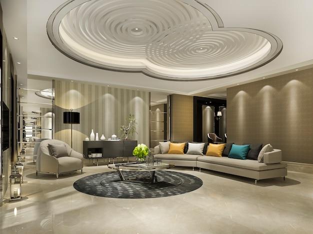 Mur classique de luxe dans le salon avec canapé et lustre