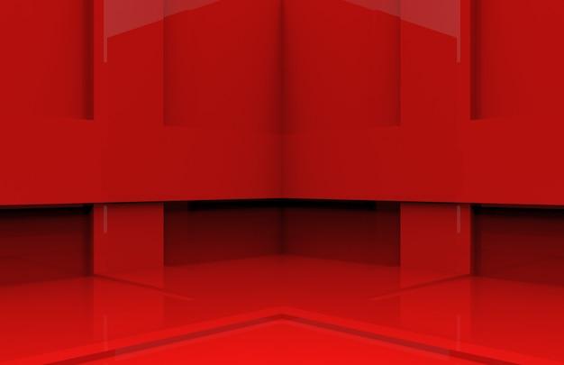 Mur de coin de boîte de panneau rouge.