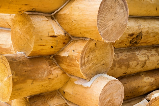 Mur en construction de maison en bois de pays. détails de la maison en rondins.