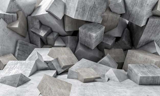 Mur de cubes en béton