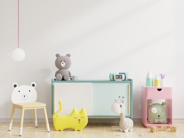 Mur dans la chambre des enfants dans le mur blanc rendu 3d