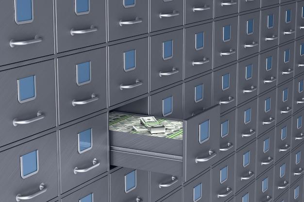 Mur du classeur. boîte ouverte avec de l'argent. illustration 3d