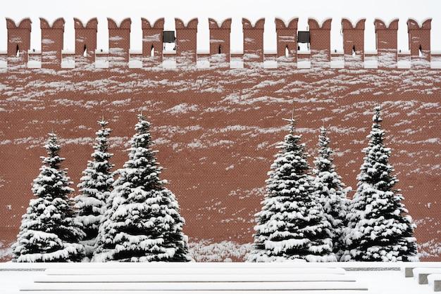 Mur du kremlin avec de la neige