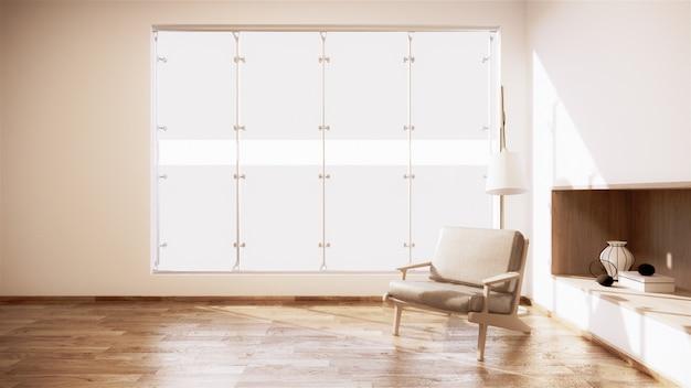 Mur d'étagère dans la salle vide moderne japonais et conceptions minimales de fauteuil. rendu 3d