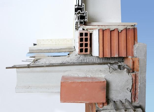 Mur de façade coupe de blocs de briques