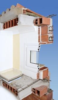 Mur de façade coupe réelle de blocs de brique