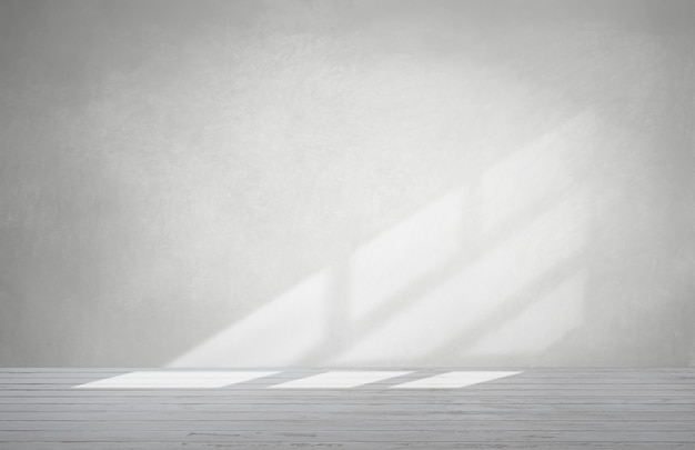 Mur gris dans une pièce vide avec sol en béton